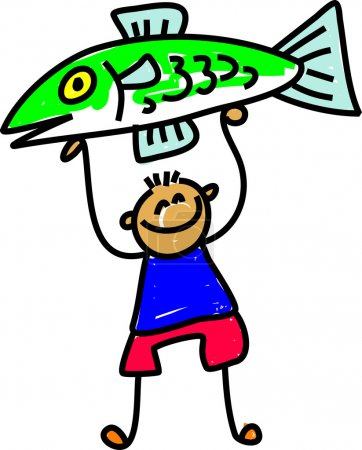 Illustration for A vector illustration of cartoon kid with a big fish - Royalty Free Image