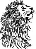 Lions head with a flowing long mane