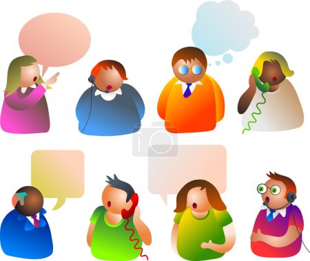 Communication people with different speech-bubles