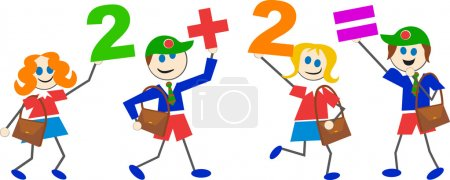 Cartoon math kids on white background...