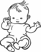 Simple line drawing of a cute baby