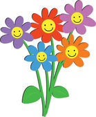 Bunch of cute flowers with happy smiling faces