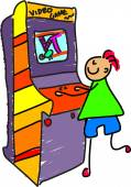Arcade kid cartoon on white background vector