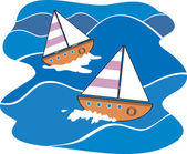 Cartoon illustration of a simple sailboats rising over an ocean wave