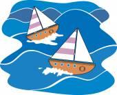 Sea wave and boats