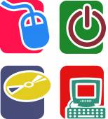 Icons on the theme of computers and technology