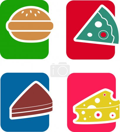 Icons on the theme of food and snacks