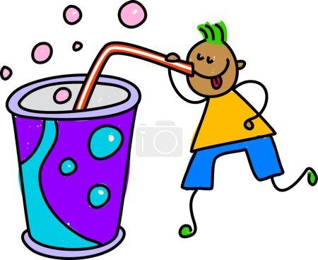Illustration pour Illustration vectorielle du garçon buvant un soda ou secouant de paille sur fond blanc - image libre de droit