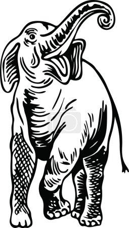 Illustration pour Illustration d'un dessin en noir et blanc d'un éléphant sauvage - image libre de droit