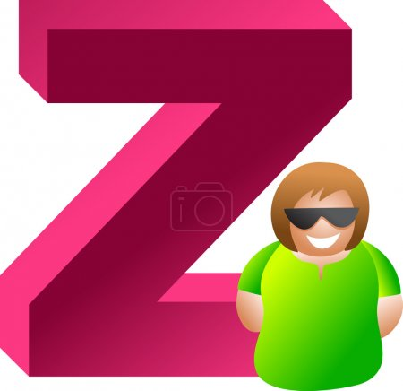 Man in a letter z of alphabet