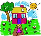 My house and girl cartoon