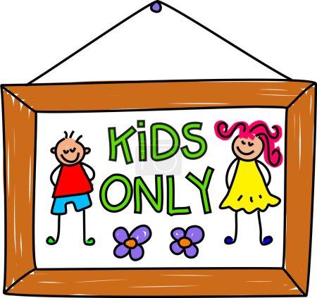 Kids only sign cartoon