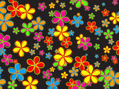 Illustration of pretty retro flowers shapes