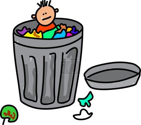Boy dumped in trash can