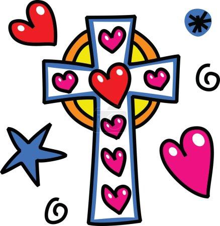 Photo pour Caricature Christian croix doodle - image libre de droit