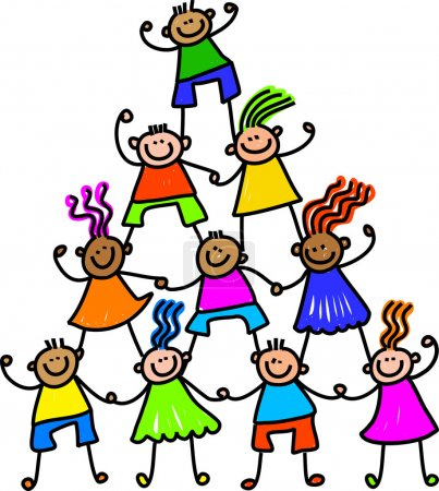 Children forming a tower.