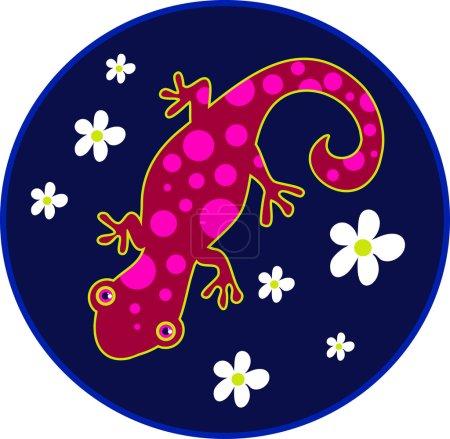 Spotty Lizard with flowers