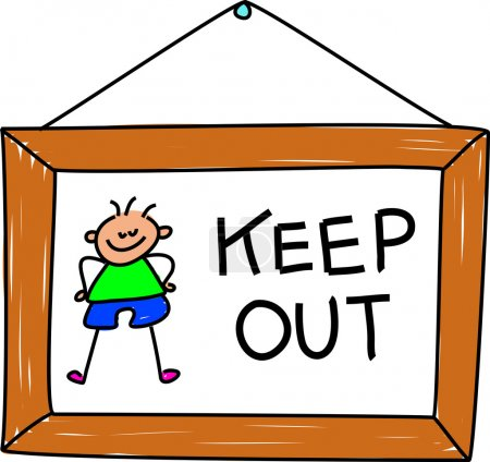 Cartoon  keep out sign