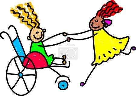 Illustration pour Illustration fantaisiste d'un groupe d'enfants handicapés heureux jouant ensemble . - image libre de droit