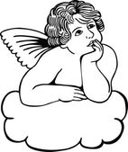 Cute cherub resting on a cloud deep in thought