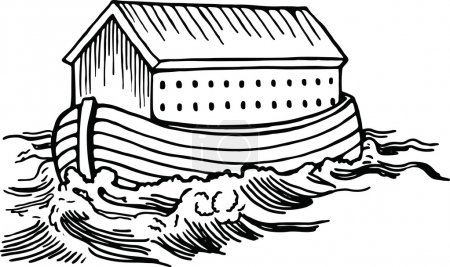 Illustration for Illustration of Noah's ark floating on the flood waters. - Royalty Free Image