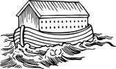 Noah's ark floating on the flood waters