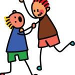 Two Kids Fighting  - Illustration For Children, Ve...