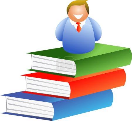 Livre homme assis sur les livres