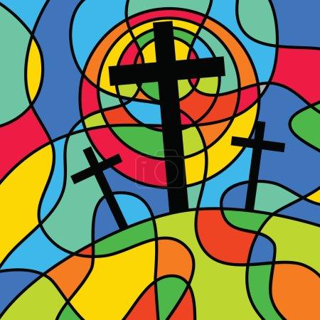 Photo pour Illustration d'une scène de croix de calvaire chrétienne, conçue dans le style d'un vitrail d'église - image libre de droit