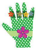 A whimsical hand with green polka dots