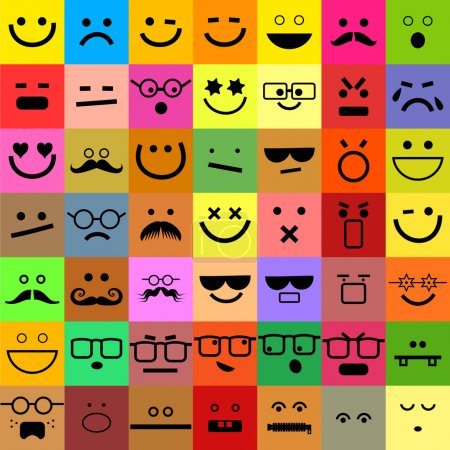 Illustration for Clipart illustration of a fun set of colourful square shaped emoticon faces - Royalty Free Image