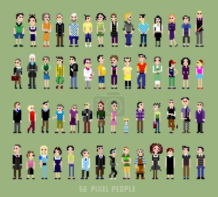 Photo pour 56 pixel personnes de tous âges et professions - image libre de droit