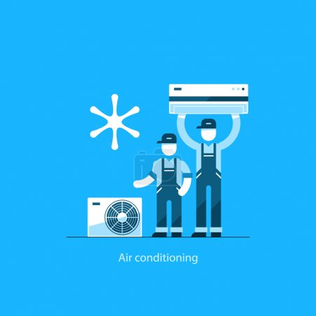 Illustration for Home air conditioning service, repairman in uniform, house cooling icons - Royalty Free Image
