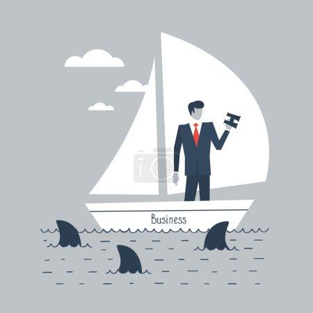 Businessman steering business