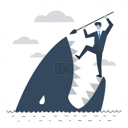 Illustration for A businessman having a fight with a shark. Metaphor for difficulties - Royalty Free Image