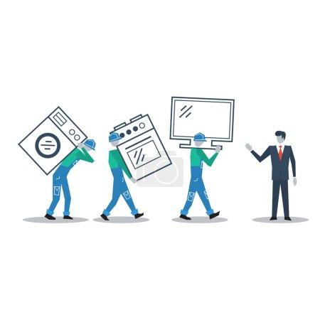 Illustration pour Vector flat design vente personne et livreurs - image libre de droit