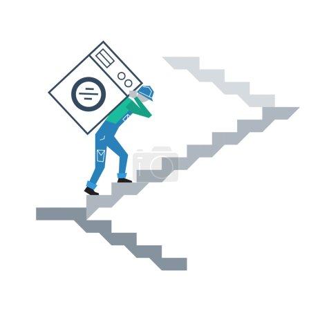 Illustration pour Livraison design plat à votre porte - image libre de droit