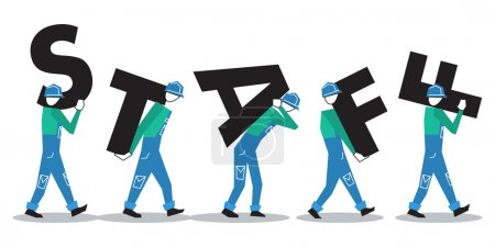 Workers carrying letters