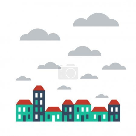 Illustration for Vector flat design row of terraced houses - Royalty Free Image