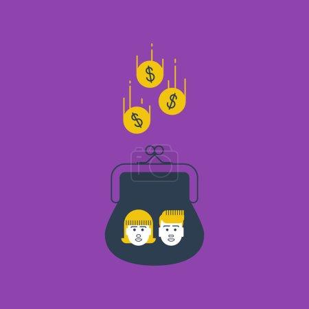 Vector illustration of Finance insurance. Money lo...