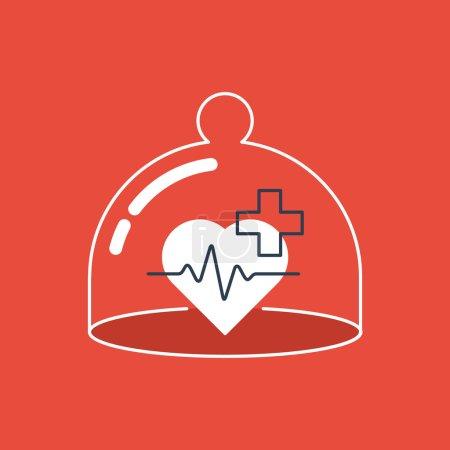 Illustration pour Concept de l'assurance santé. Pharmacie, clinique. - image libre de droit