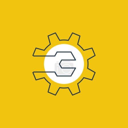 Ilustración de Insignia de auto servicio. Trabajo mecánico, tecnología, ingeniería, industrial muestra. - Imagen libre de derechos