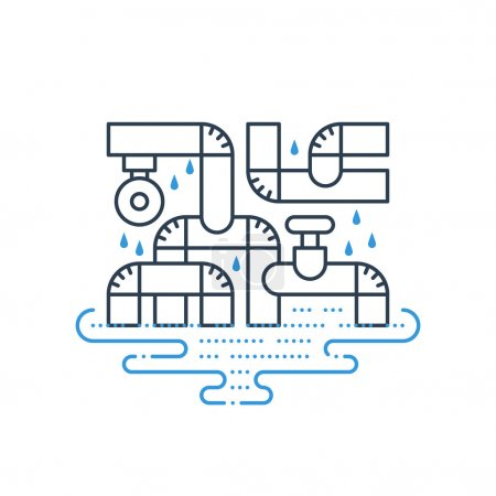 Illustration for Bad plumbing. Pipe leakage. Canalization problems. - Royalty Free Image