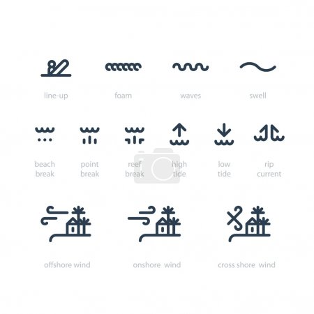Illustration for Surfing weather icons. Vector illustration - Royalty Free Image