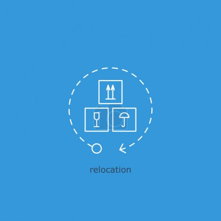 Ilustración de Seguimiento, reubicación de activos, volumen de ventas de los productos básicos, logotipo de la empresa de logística de la carga - Imagen libre de derechos