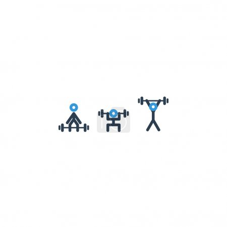 Powerlifting set of icons