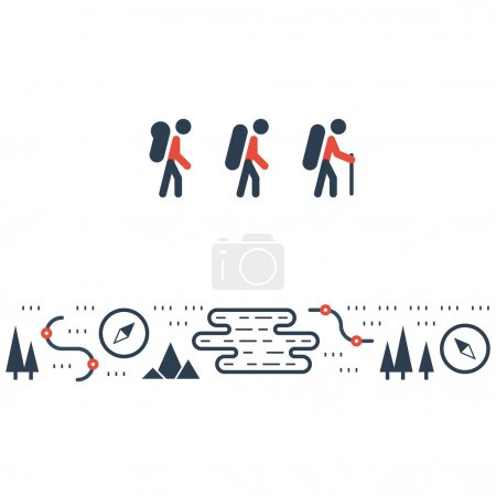 Hike, outdoor activities illustration