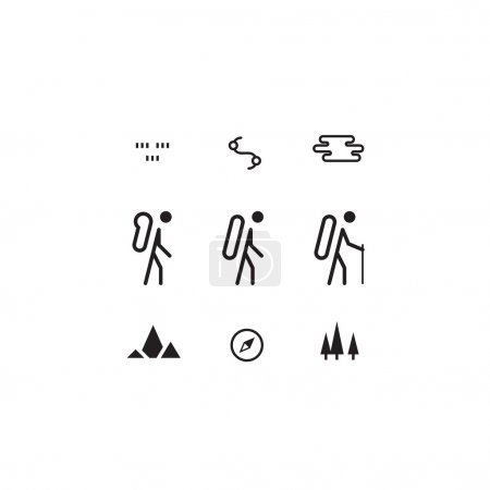 Hike, outdoor activities icons