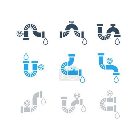 Illustration pour Ensemble d'icônes de service de plomberie - image libre de droit