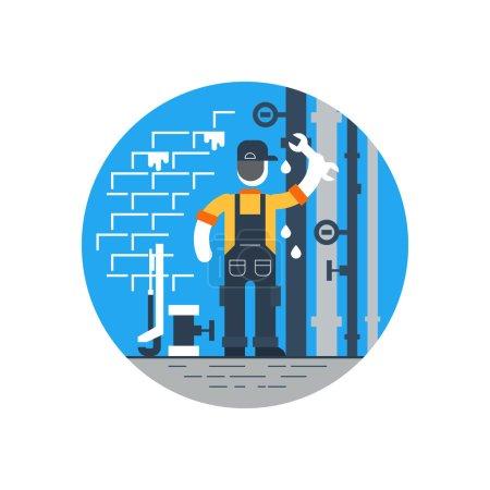 Plumbing services worker